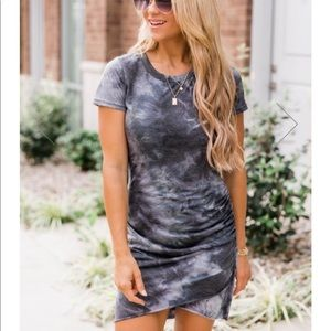 NWT Gleaming With Hope Tie Dye Charcoal Dress
